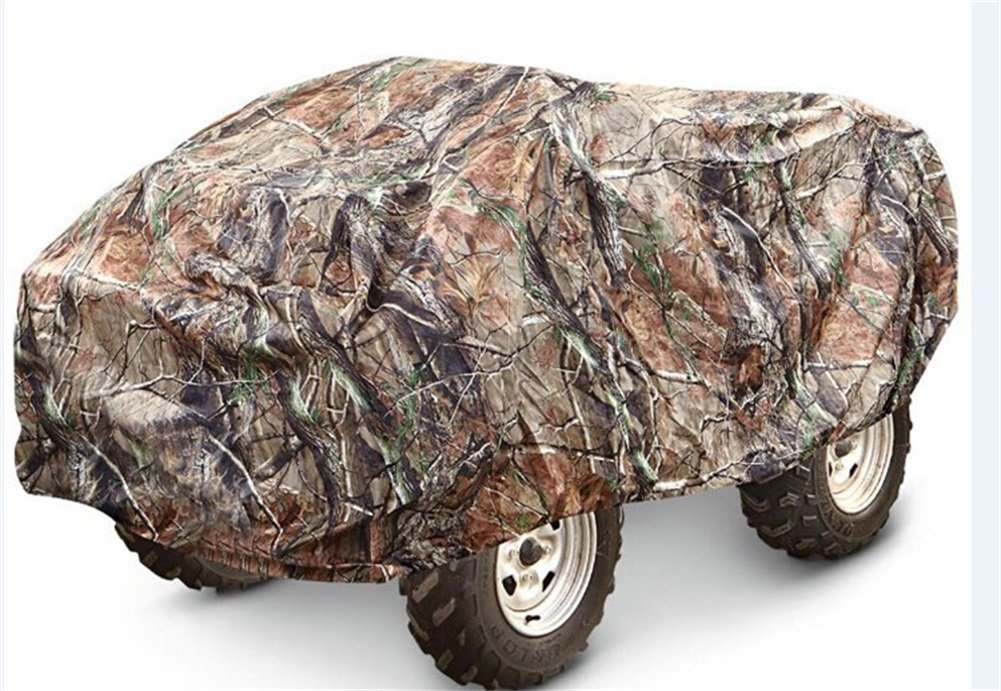 Camouflage Waterproof ATV Cover Heavy Duty 190T Polyester with Adjuatable Elastic Band Protects from Snow Rain or Sun Fits up to 78-86 inches(Random Color) QCZ07 (XL: 82.7'' 47.3'' 45.3'' INCH)