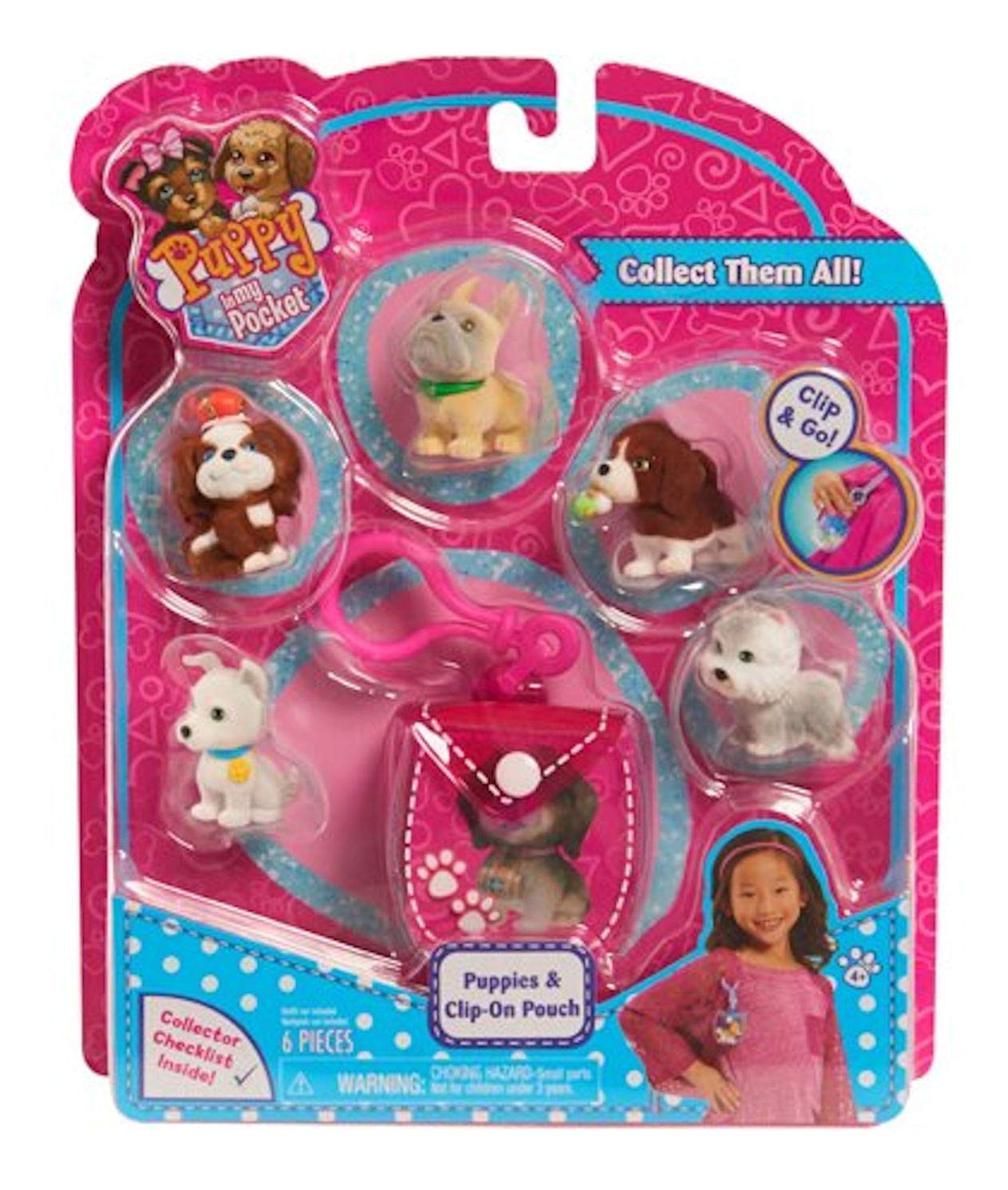 Clip-On Pouch and 5 cute puppies Just Play Toys JPL48605 6 pieces Puppy In My Pocket