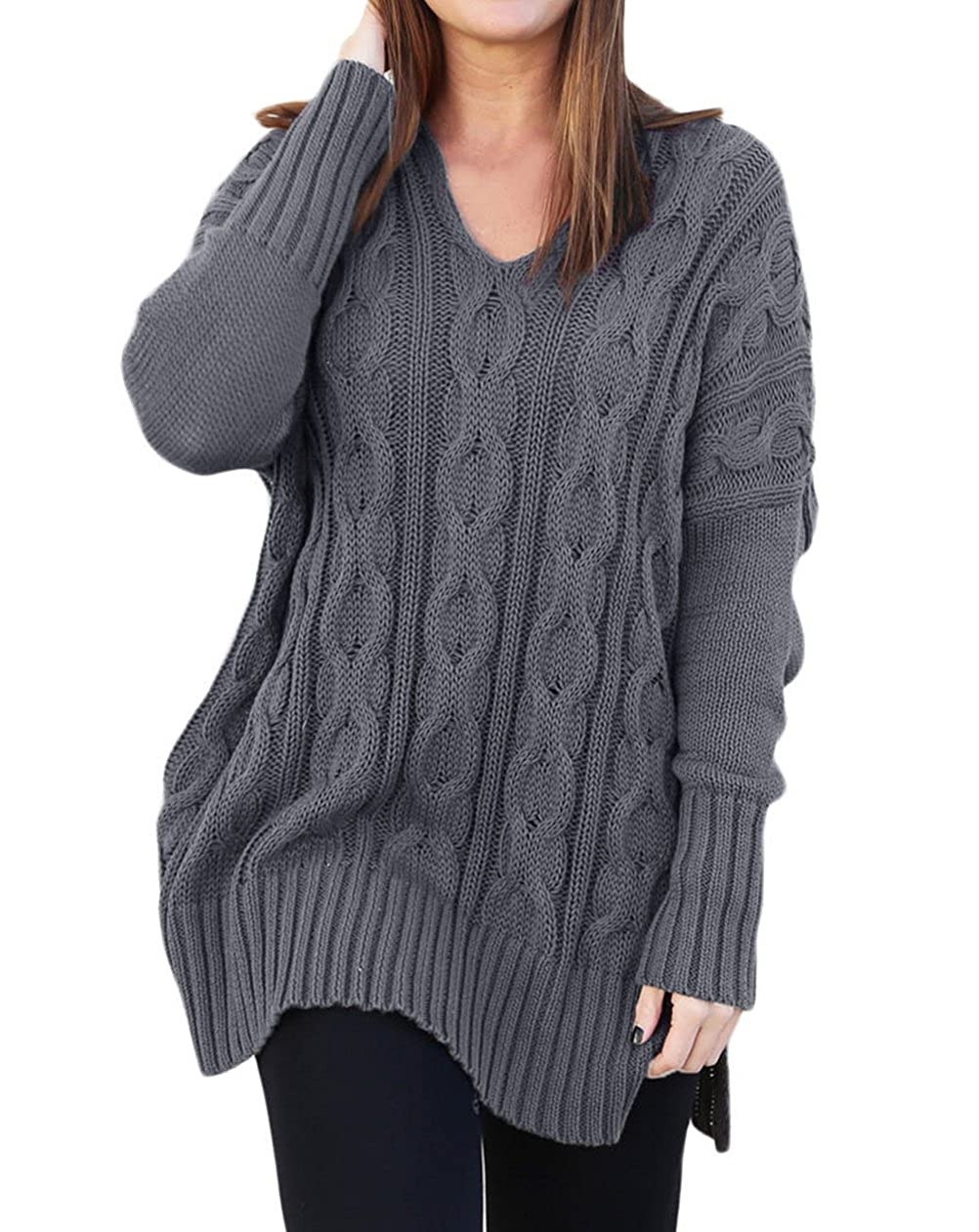 9e88837e65ae Womens Casual Cable Knit V Neck Side Slit Oversized Solid Pullover Sweater  Tops at Amazon Women s Clothing store