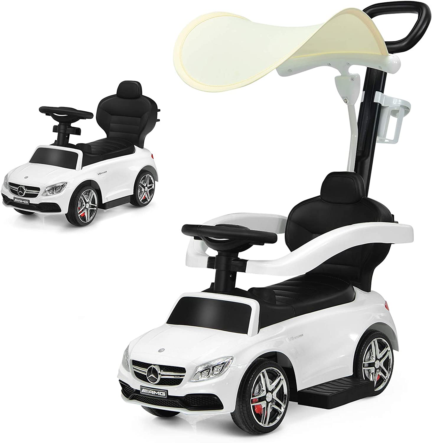 Costzon 3 in 1 Ride On Push Car, Mercedes Benz Stroller Sliding Walking Car with Handle, Sun Canopy, Safety Bar, Cup Holder, Music, Horn, Underneath Storage, Ride-on Toy for Toddlers Boys Girls, White