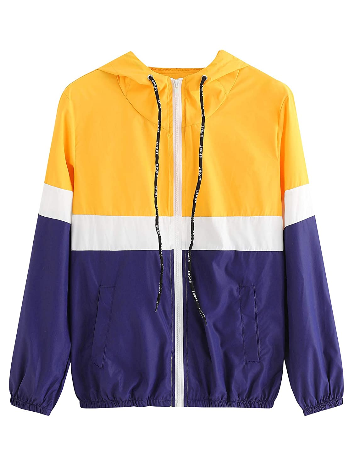 Yellow SweatyRocks Women's Casual Sport colorblock Drawstring Hooded Windbreaker Jacket