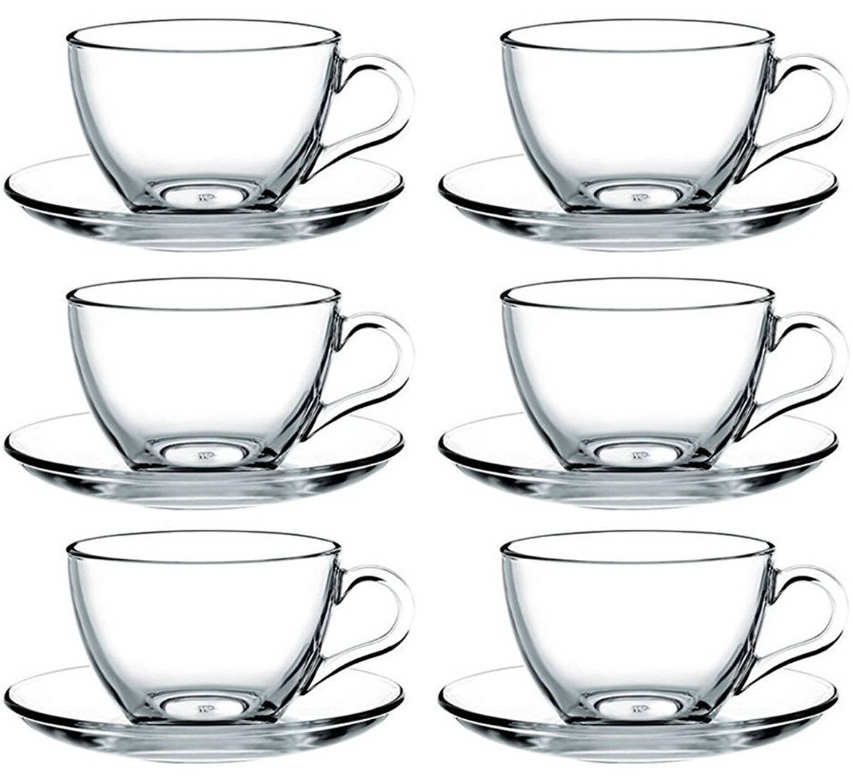 12-Piece Set of Espresso Cups with Basic Saucers Pasabahce