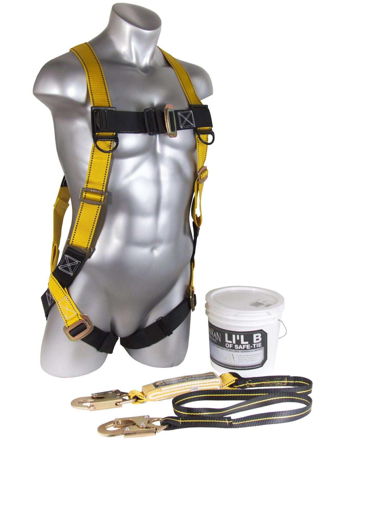 Guardian Fall Protection 00870 Li'l Bucket of Safe-Tie with HUV, Shock Absorbing Lanyard and Red Nylon Bag