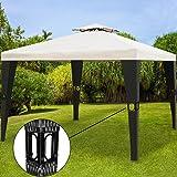 Tonnelle de jardin 3x4m en polyrotin Tente de jardin Pavillon Barnum 12m² Crème