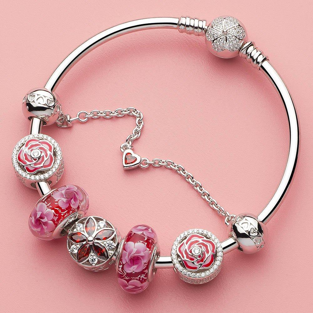 ATHENAIE 925 Sterling Silver Love Heart Connection Clair CZ Safety Chain Fit European Bracelets