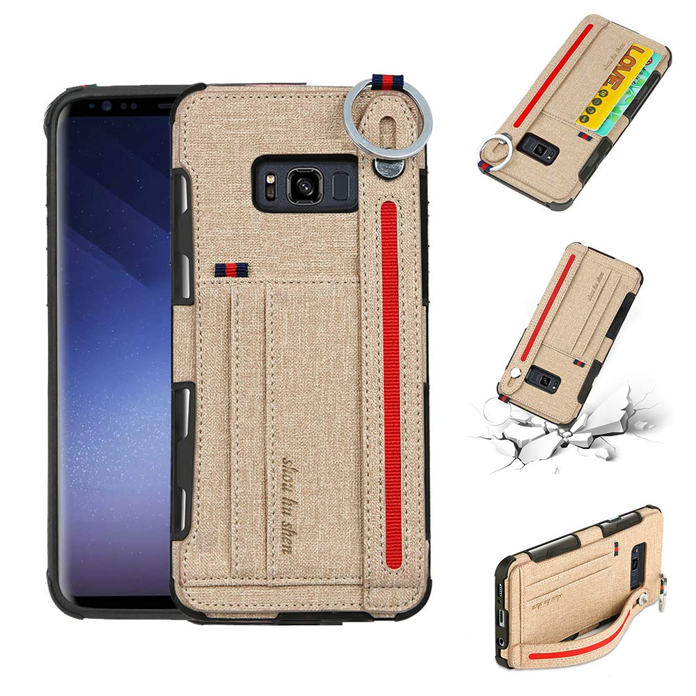 brown, Galaxy S8 Plus Wallet Case for Samsung S8,Slim Cloth Fabric Hard PC Protection Cover with Card Holder Slots for Galaxy S8 Plus
