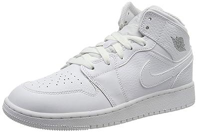 wholesale dealer cb02b 6f146 Nike AIR Jordan 1 Mid (GS), Chaussures de Basketball garçon, Mehrfarbig Pure