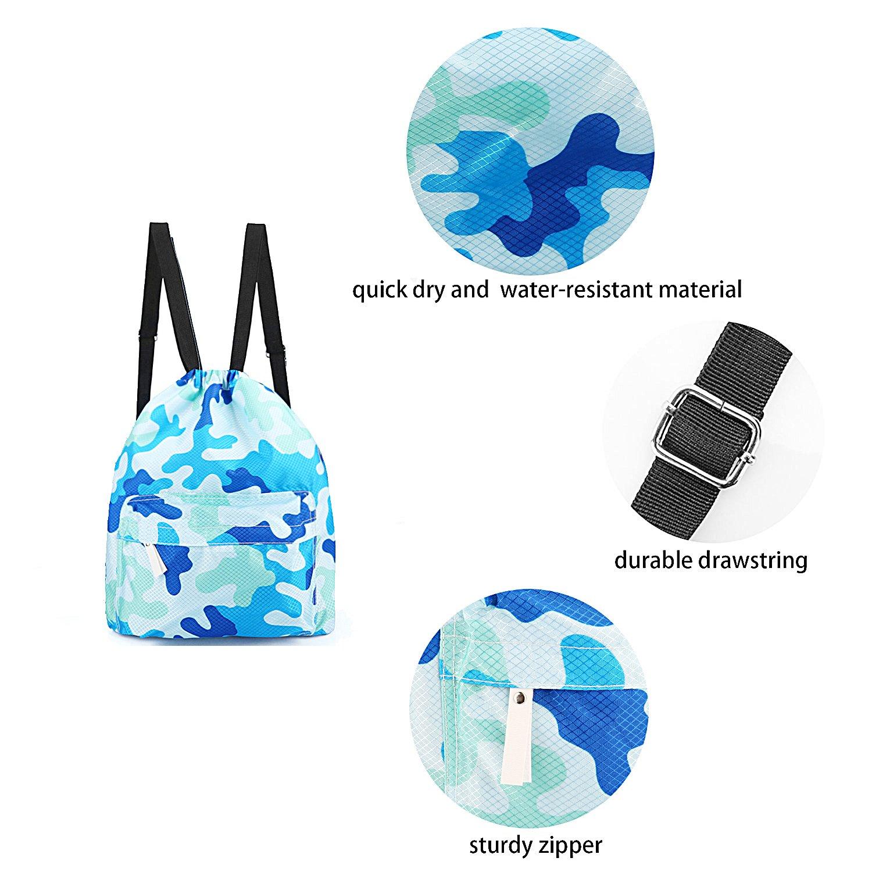 73bf00cdb7 ... sockfun Swimming Bag Dry Wet Separated Gym Sack Waterproof Drawstring  Backpack Women Men Adjustable Sports Gear ...