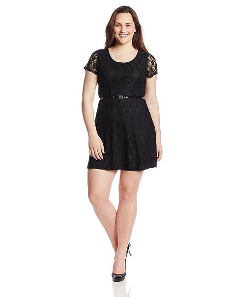 Star Vixen Women\'s Plus-Size Lace Skater Dress