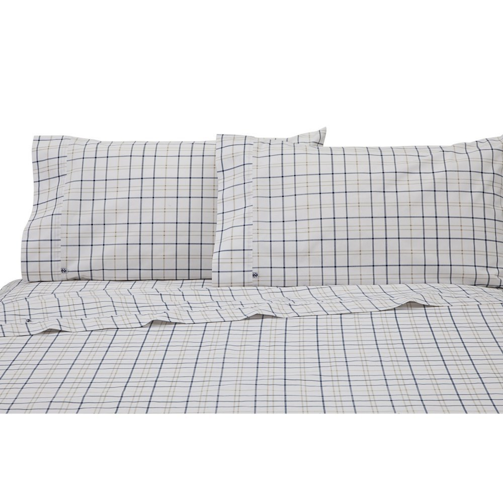 Izod Windowpane Plaid Sheet Set, Full, Navy/Tan