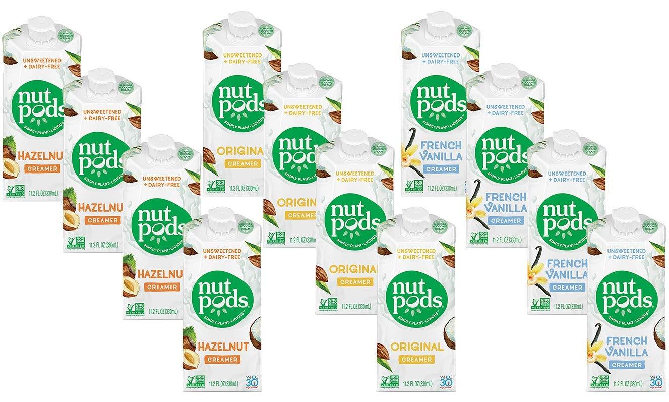 Nutpods Variety: Hazelnut, French Vanilla, Original, 12 Pack of Unsweetened Dairy-Free Creamers Bundled with Royal 100% Natural Ondago Birch-wood Stirrers