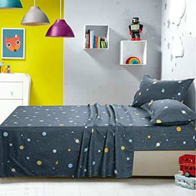 TOTORO Outer Space Queen Bed Sheets Set, 4 Piece Bed Set with 1 Fitted Sheet 1 Flat Sheet 2 Pillowcases, Wrinkle Fade Resistant Beddings for Children and Adults: Home & Kitchen