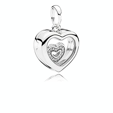 30ae6ae18 Amazon.com: PANDORA Floating Heart Locket, Sapphire Crystal Glass & Clear  CZ 792111CZ: Jewelry
