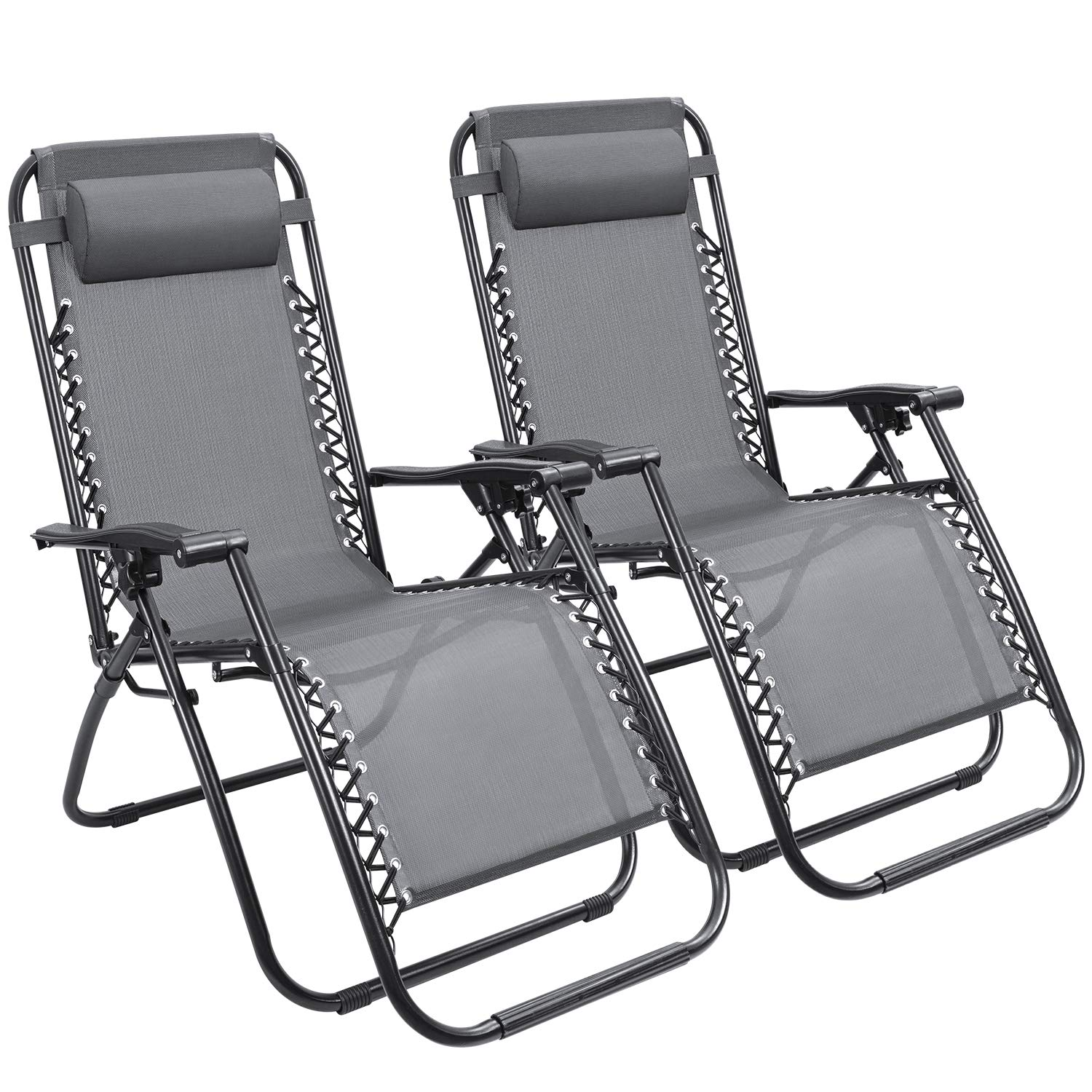 Devoko Patio Zero Gravity Chair Outdoor Folding Adjustable Reclining Chairs Pool Side Using Lawn Lounge Chair with Pillow Set of 2 (Grey)