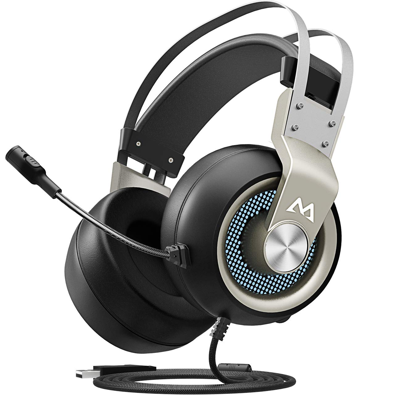 Mpow Eg3(Series II) PC Gaming Headset 7.1 Surround Sound, PS4 USB Headset with Mic, Gaming Grade 50mm Drivers, Surround EQ Setting, Mic/Volume Control, Soft Earmuffs LED Gaming Headphones for PC/PS4 by Mpow