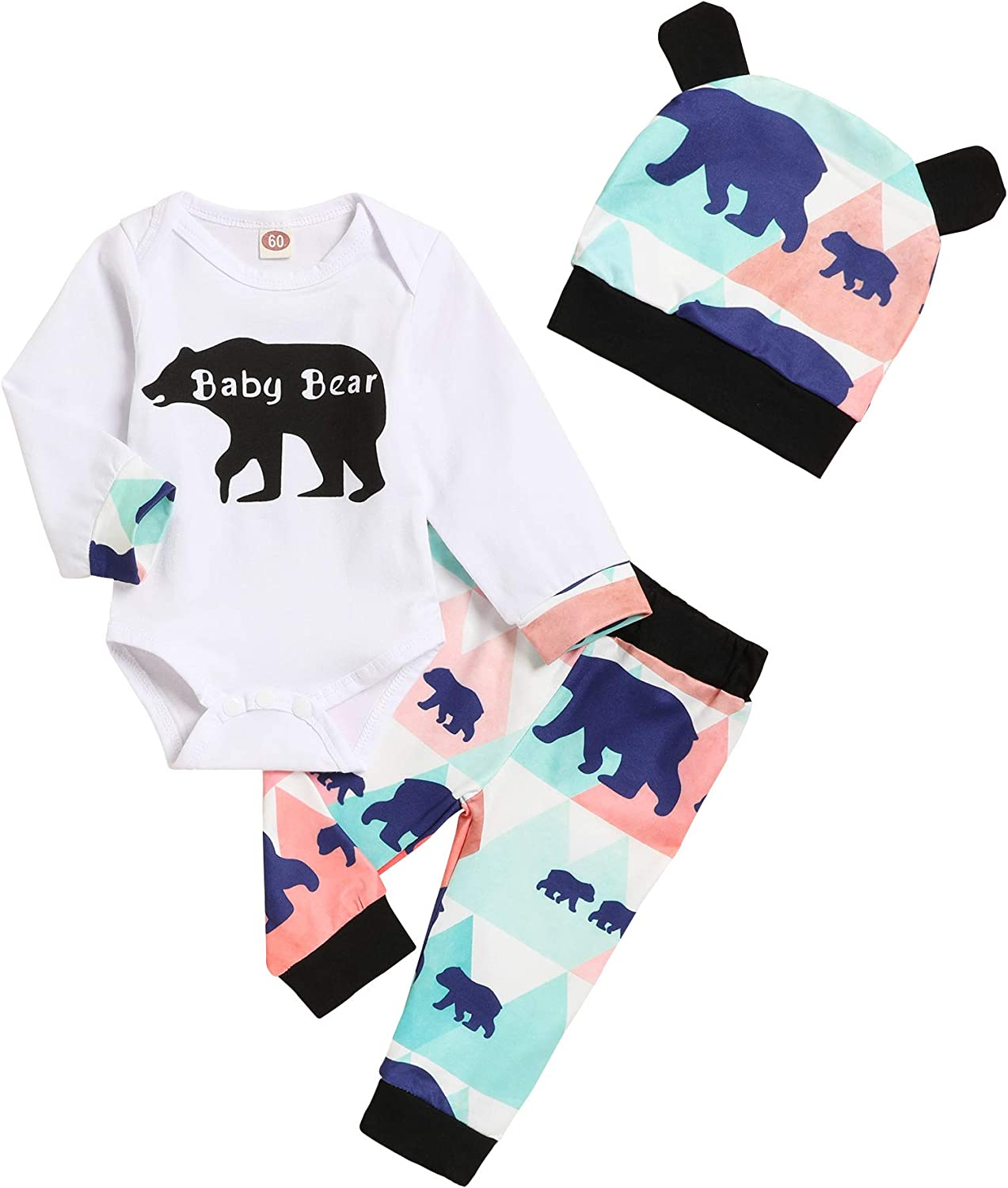 Newborn Baby Boys Girls Clothes Baby Bear Long Sleeve Bear Print Pants Outfit Sets + Hat