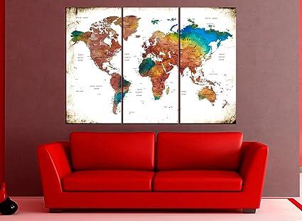 Amazon.com: World Map canvas, world map Wall Art push pin ...