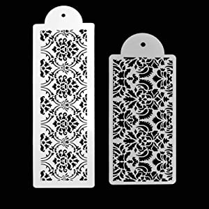 FVVMEED 2 Pieces Cupcake Stencil Cake Side Decorating Templates Powdered Sugar Sieve Template Wedding Cake Decor Flower Edge Molding, Lace Decoration Stencils Food Grade Plastic Mold Baking Tool