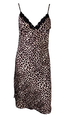 Image Unavailable. Image not available for. Colour  EX M S MS Satin Feel Leopard  Print Night Dress Short Chemise 66daecf6c