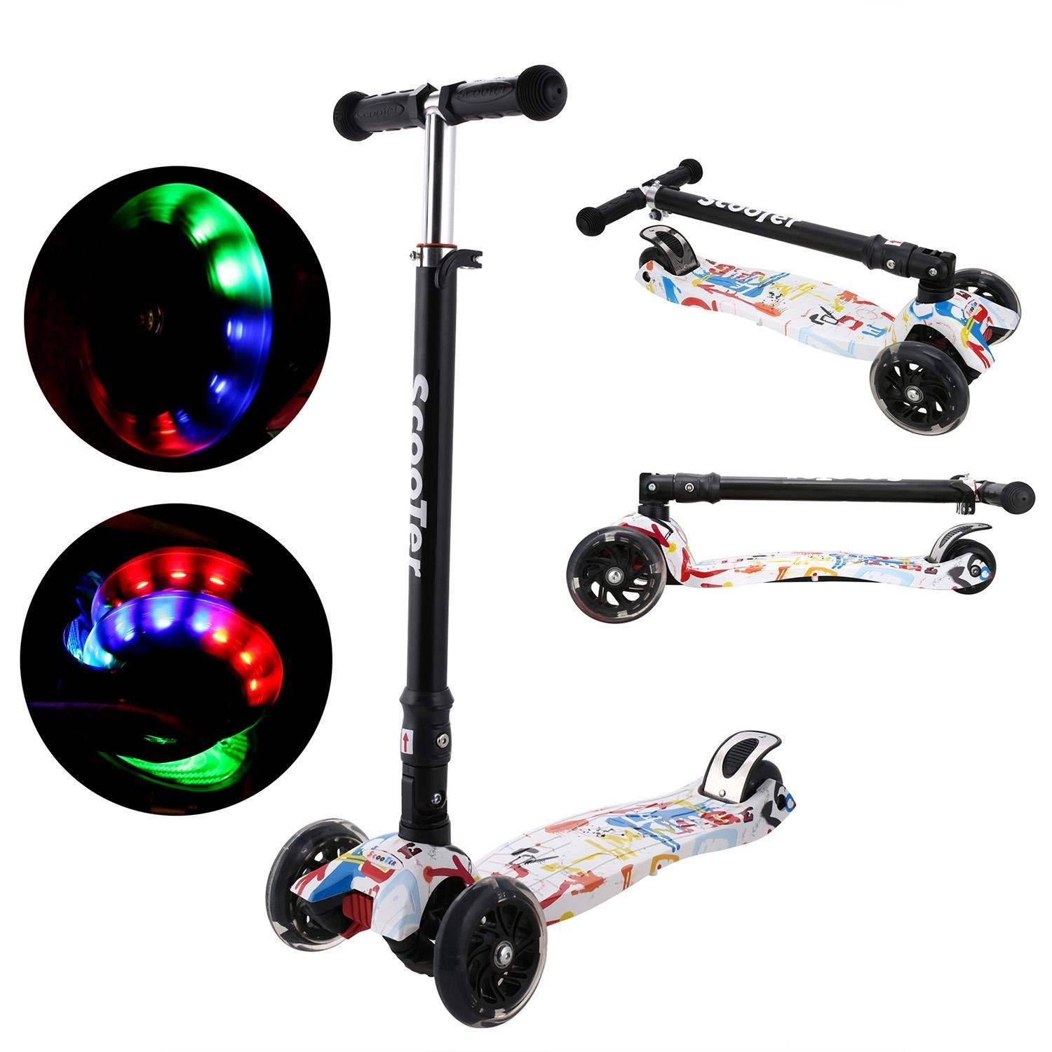 Hindom Kick Scooter 3 Wheels Adjustable Height Kids Scooters with LED Flashing Wheels Great Christmas Gift for Kids (US Stock)