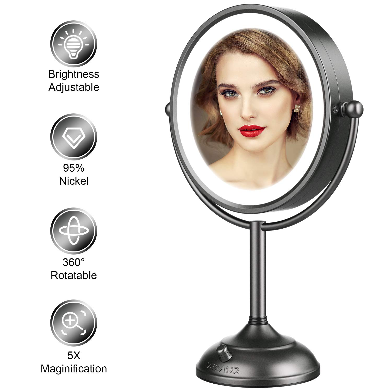 "VESAUR Professional 10"" [Large Tall Size] Lighted Makeup Mirror, 5X 2-Sided Magnifying Vanity Mirror with 48 Medical LED Lights, Senior Satin Nickel Cosmetic Mirror, Brightness Adjustable (0-1100Lux)"