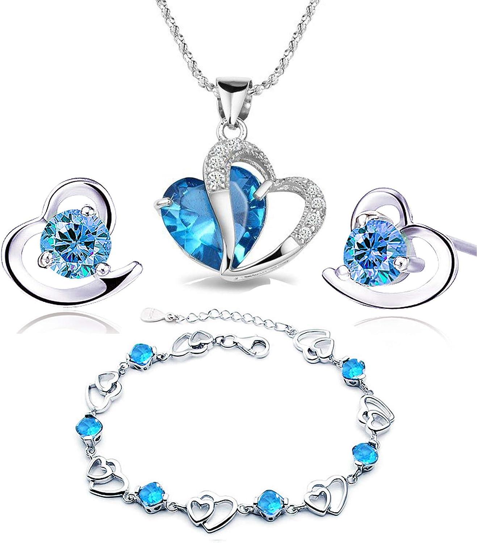 findout - Juego de pulsera + colgante + pendientes, amatista, varios colores, diseño de corazón, de plata (F497)