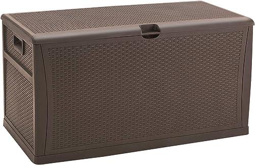 HOMEER Deck Box Plastic Rattan Storage Box Outdoor for Storage and Organization 120 Gallon Brown
