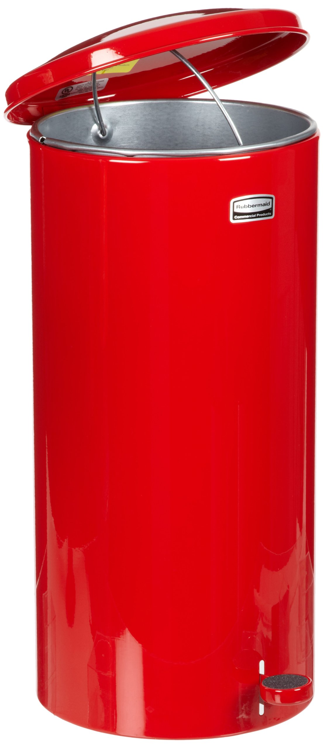 Rubbermaid Commercial FGST5EGLRD The Defenders Steel Step Trash Can with Galvanized Liner, 5-Gallon , Red