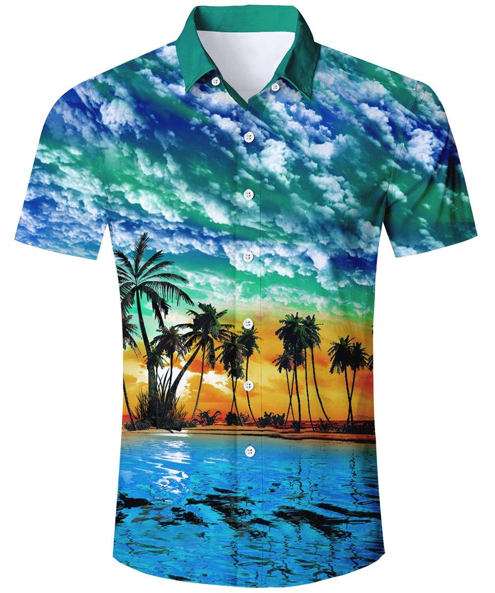 TUONROAD Casual Tropical Vacation Aloha Short Sleeve Hot Printed Blue Sky Green White Clouds Hawaiian Shirt Holiday Retro Cute Button Down Shirt Hawaiian wear,Beach-B