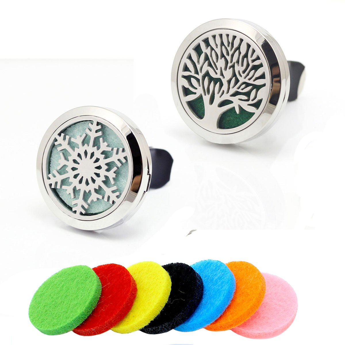 2pcs Stainless Steel Snowflake + Tree of Life Car Locket Aromatherapy Fragrance Essential Oil Diffuser