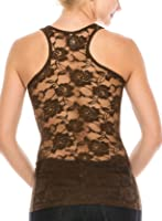 ALLabout_U Women's Floral Sheer See Through Lace Racerback Tank Top & Short Sleeved Shirt (S~XL)