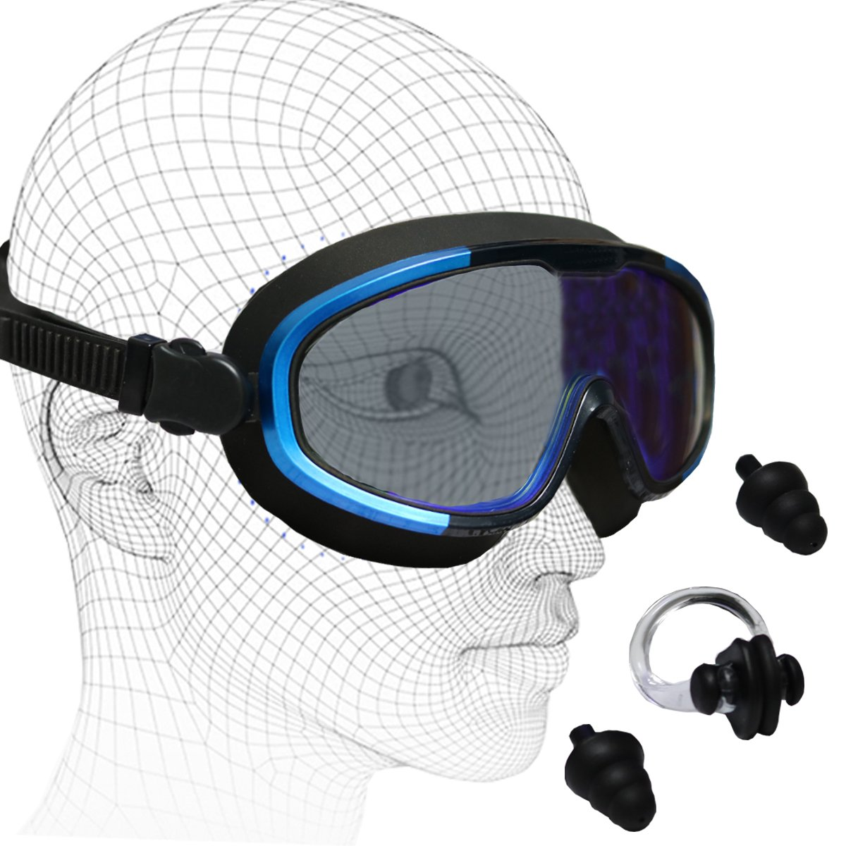 Swimming Goggles with Swim Ear Plugs & Nose Clip,UV Shield Lenses,No Leaking Anti Fog,Wide View,Soft Silicone Big Frame Adjustable Strap Colored Mirrored Goggles For Women Men Adult Youth