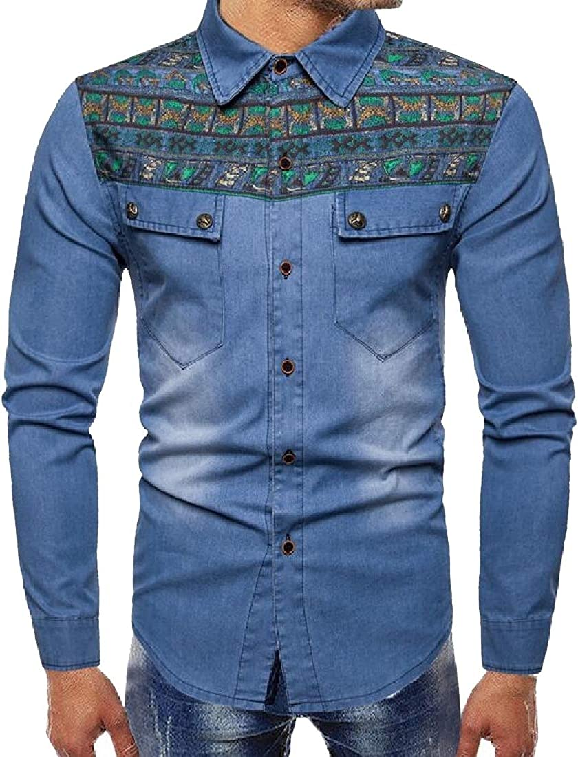 HANA+DORA Mens Cowboy Casual Cotton Denim Work Dress Shirt Jacket Ethnic Style Shirts