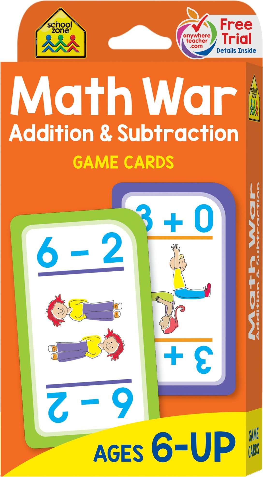 School Zone - Math War Addition and Subtraction Game Cards, Ages 6 ...