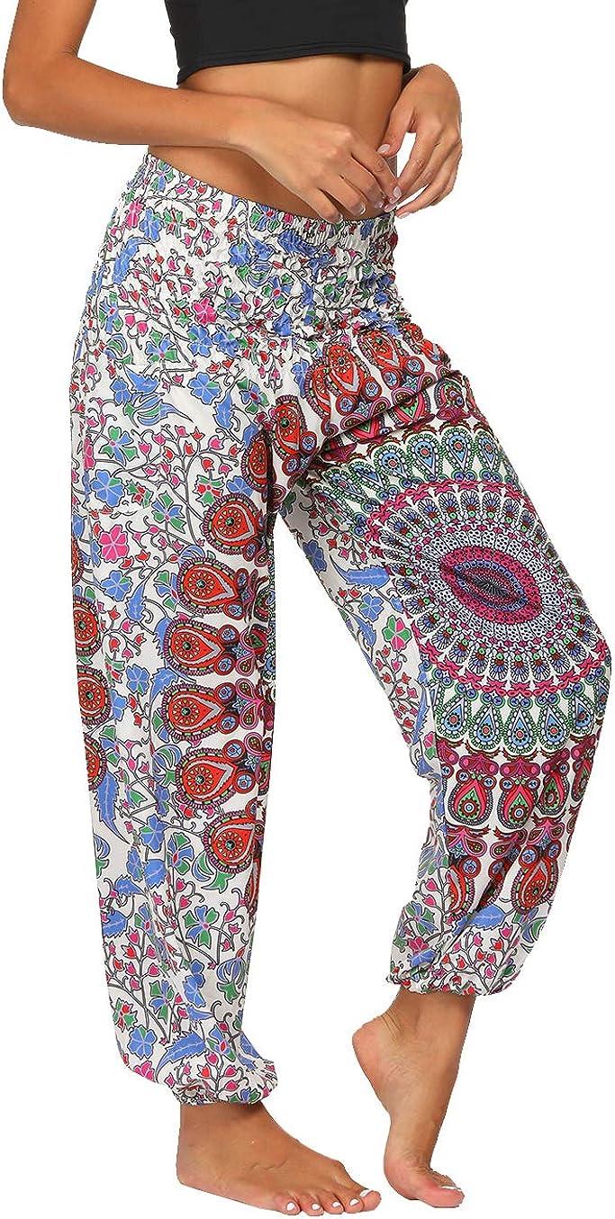 Fancy Uyee Womens Boho Pants Smock Waist Yoga Harem Pants Jogger Hippie Pants with Pockets