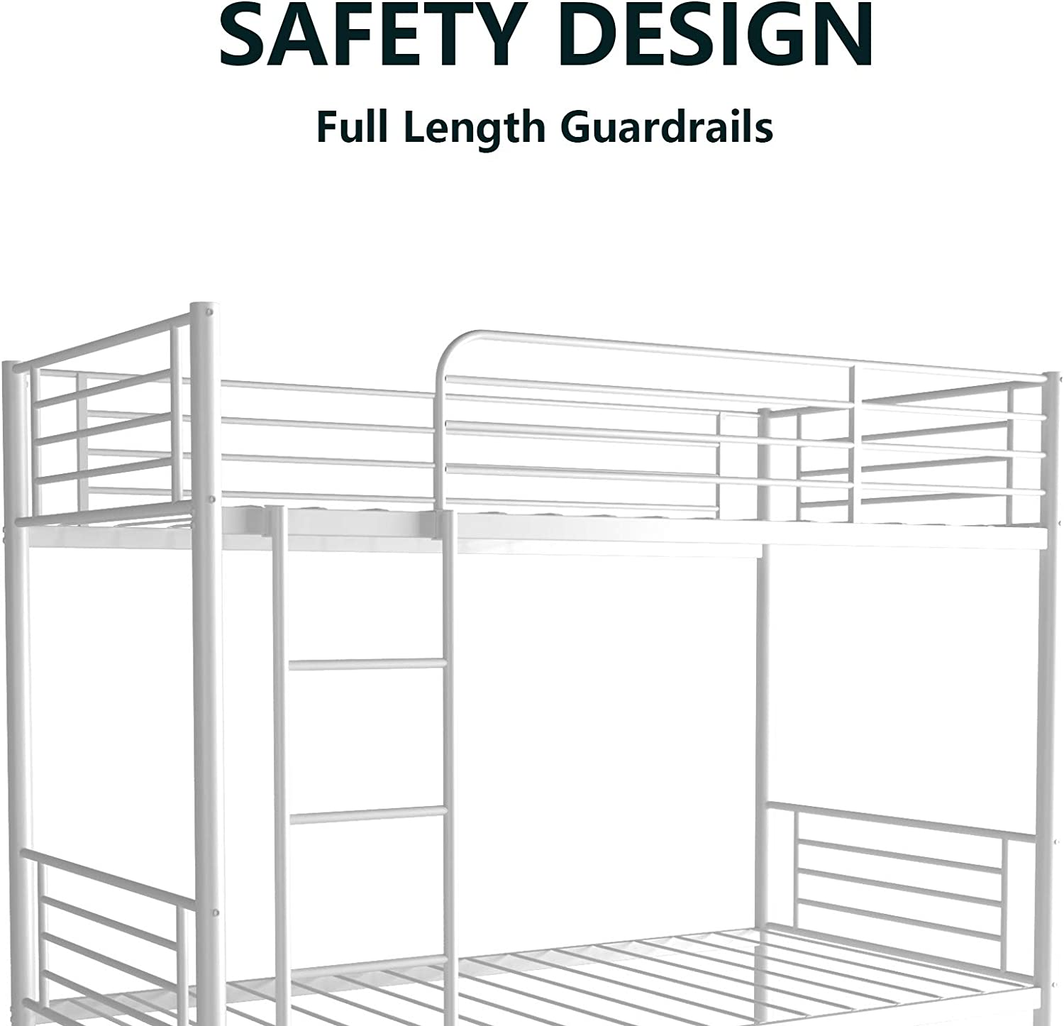 White Mecor Twin Over Twin Metal Bunk Bed Sturdy Frame With Metal Slats Safety Guard Rail Removable Ladder For Kids Adults Teens Furniture Home Kitchen Fcteutonia05 De