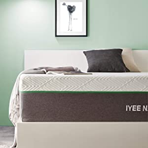 Full Size Mattress, 12 Inch Iyee Nature Cooling-Gel Memory Foam Mattress Bed in a Box, Supportive & Pressure Relief with Breathable Soft Fabric Cover, Medium Firm Feel,Gray