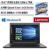 "2017 Lenovo 310 15.6"" Laptop, AMD A12-Series, 8GB DDR4 Memory, 1TB Hard Drive, Bluetooth 4.1,USB 3.0, Windows 10 Home"