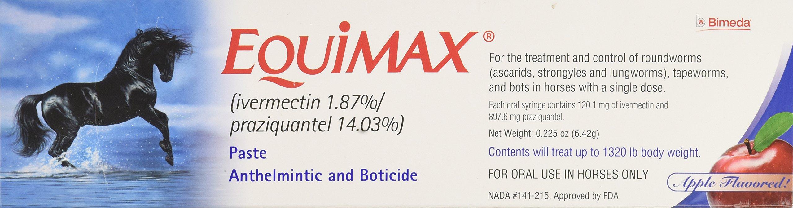 Bimeda EQUIMAX Equine Deworm Paste for Horses, Ivermectin 1.87-Percent and Praziquantel 14.03-Percent, 6.42gm