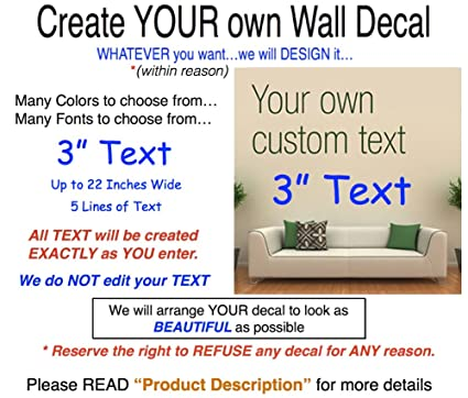 WallDecalsAndArt Custom Text Wall Decal, 3u0026quot; ...