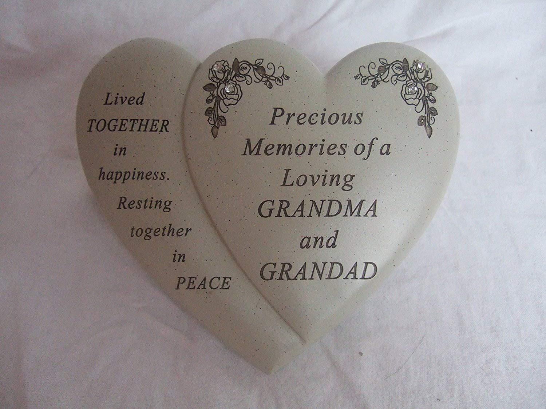 """Precious Memories Grandma and Grandad"" Love Heart Shaped Memorial Grave Ornament Plaque David Fischhoff"