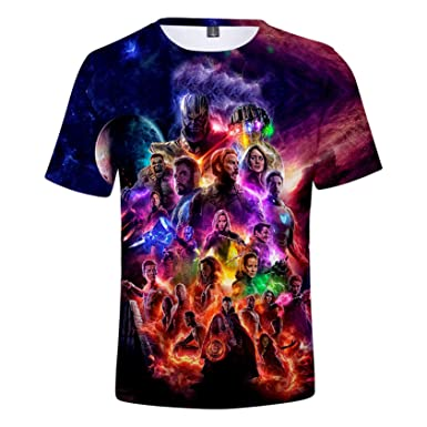 877dbd8a Amazon.com: Fashion 3D Avengers Endgame Commemorate T-Shirt Superhero  Quantum Realm Tees Cosplay Costumes for Men/Women: Clothing