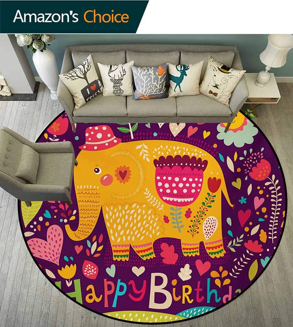 RUGSMAT Elephant Modern Washable Round Bath Mat,Birthday Celebration Pattern with Colorful Hearts Leaves and Flowers Doodle Animal Non-Slip Bathroom Soft Floor Mat Home Decor,Diameter-71 Inch