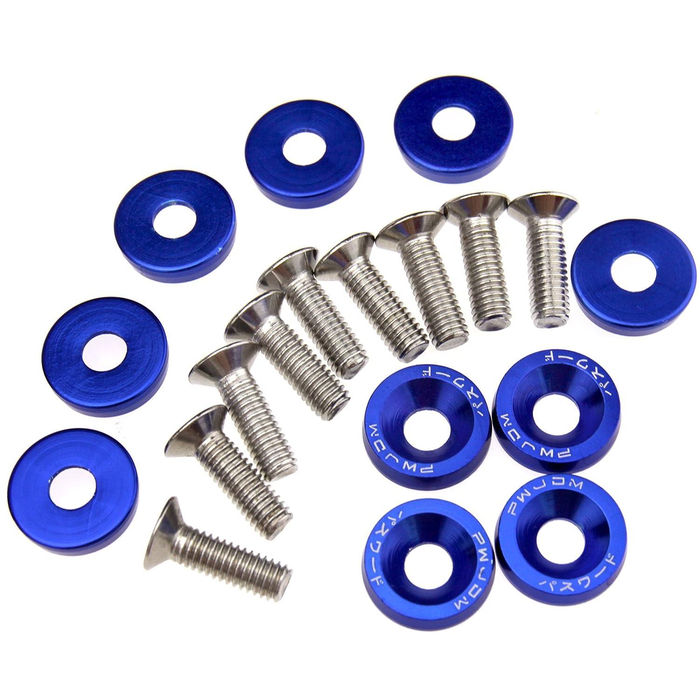 10x Kotflü gelschrauben Unterlegscheibe Fenderwasher Blau Aluminum ENET