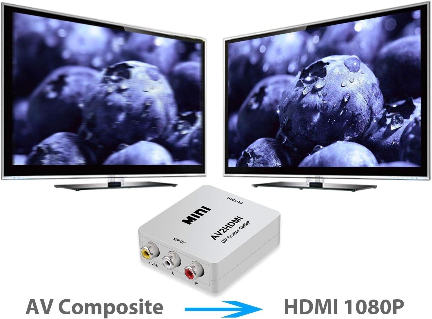 eSynic Conversor RCA a HDMI Compuesto RBS CVBS AV a HDMI 1080P Mini Adaptador de Audio y Video Compatible con PAL/NTSC con Cable RCA para Computadora Portátil PC PS4 PS3 TV DVD