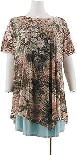 LOGO Lori Goldstein Print Blocked Knit Top Pockets Bordeaux XXS NEW A307249