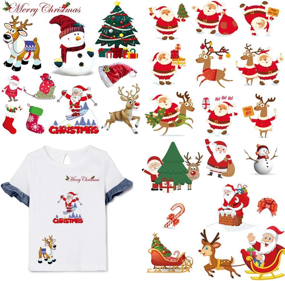 3 ورقات عيد الميلاد بالكي على رقع نقل الحرارة ملصقات الشتاء الجديدة يزين رقع عيد الميلاد الحيوانات الغزلان سانتا كلوز رجل الثلج بقع ديكور للأطفال DIY الملابس تي شيرت جينز الملابس