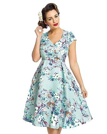 Lindy Bop Celestine Green Flowers Print Swing Dress Size - 8
