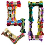 CRSF002 Embroidery Thread, 100% Cotton, 50 x Assorted Coloured Skeins Multicolor