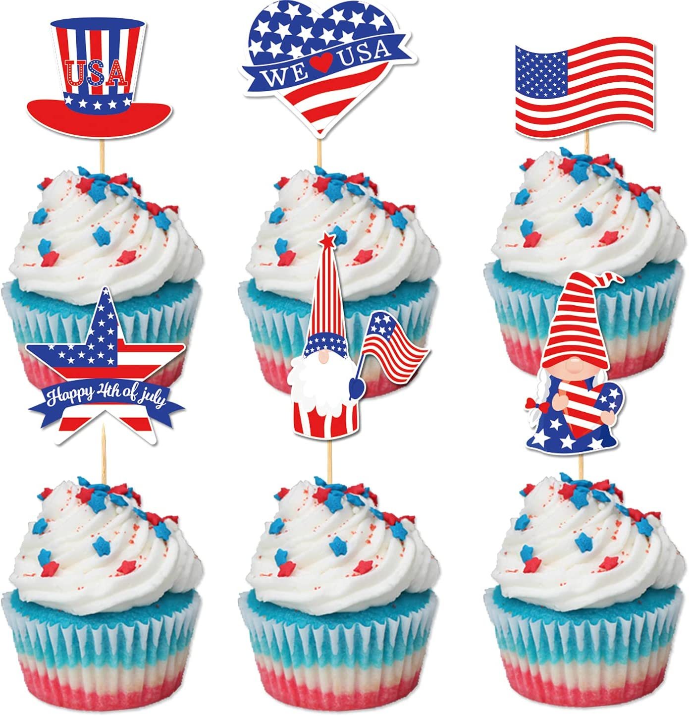 24Pcs 4th of July Cupcake Toppers - Patriotic Gnome American Flag Food Fruit Picks for Fourth of July Birthday Party Cake Decoration, Dessert Décor